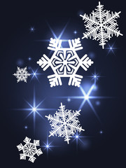 Blue sparkling background with snowflakes. Christmas card