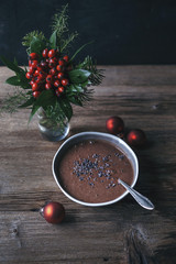 Chocolate smoothie in a bowl