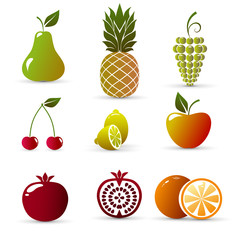 Fruits isolated on white background, vector