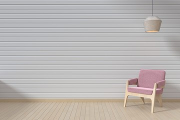 The interior has a Pink sofa and hang lamp on empty white wall background,3D rendering