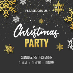 Christmas party invitation poster design. Retro gold typography and ornament decoration illustration. Xmas holiday flyer or poster design template