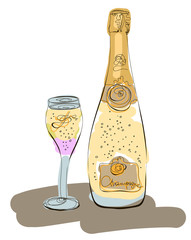 Champagne bottle and glass. Hand drawn graphic illustration. Sketchy style.