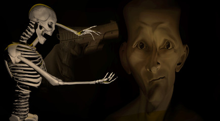 3d illustration of a skeleton gesturing