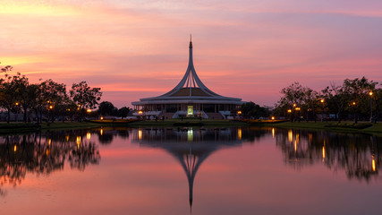 Suanluang Rama 9 garden in sunset with beautiful architecture, Bangkok