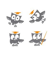 cute little owls with Academic Graduation Hat vector illustratio