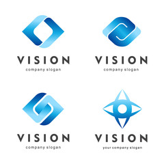 Vision. Eye logo set. Creative camera media icons. Video control signs.