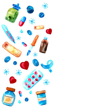Watercolor medicine tablets and pills, capsules frame. Hand drawn pharmaceutical objects frame.