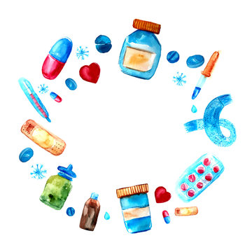 Watercolor medicine tablets and pills, capsules circle frame. Hand drawn pharmaceutical objects frame. Round border