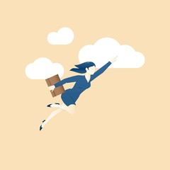 Business concept vector illustration of business woman fliying t