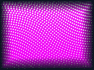 Wavy halftone pattern of white stars on pink with black halftone frame