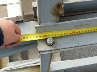measurement of the dimensions of metal structures on the roof