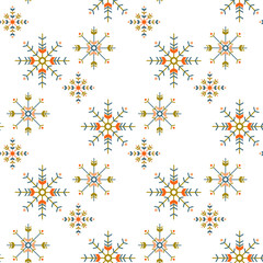 winter boho seamless pattern with geometric snowflakes isolated on white background. season design for print,wrapping paper.