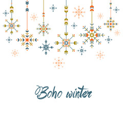 Christmas greeting card in ethnic style. geometric snowflakes on white background. holiday tribal design.