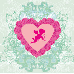 valentines frame with a sweet cupid and beautiful roses