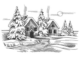 Vector sketch of the winter landscape.