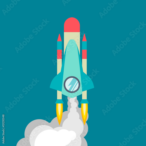 rocket ship in a flat style vector illustration with 3d flying rocket space travel to the moon. Black Bedroom Furniture Sets. Home Design Ideas