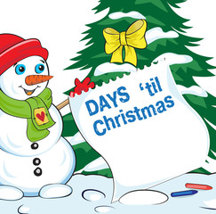 Card with snowman looking at the sheet of advent calendar. Lettering Days til Christmas.
