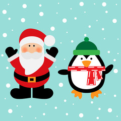 Vector illustration of a Santa and penguin on a snow background
