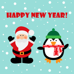 Vector illustration of a Santa and penguin with text happy new year on a snow background