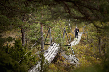 Distant of male hiker running on footbridge over trees during autumn