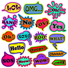 Cartoon Set Of Speech Bubbles With Expressions.