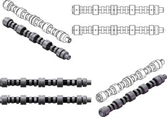 3d illustration of camshafts and engine valves