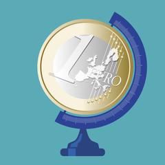 Euro -  Globe terrestre - Finance - économie