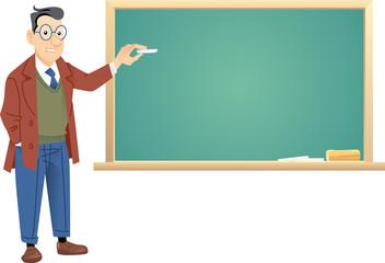 Teacher Front Of Blackboard. Global color used.
