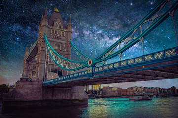 Wall Mural - Tower bridge with Milky way galaxy at night sky in London, UK