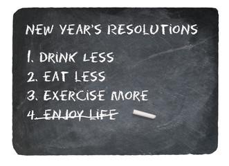 New Years resolution concept using chalk on slate blackboard