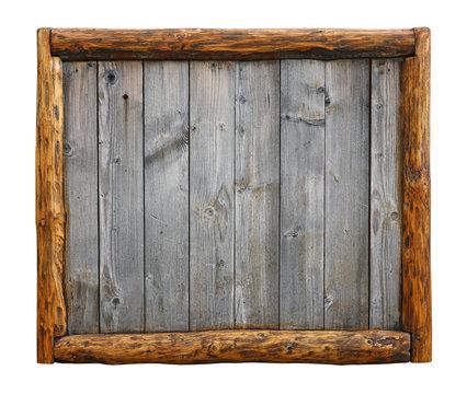 Old vintage wooden planks with log border frame