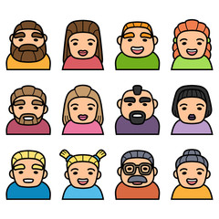 Set of people icons with faces. Vector women and men characters