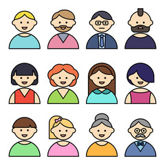 Set of people icons with faces. Vector women and men character