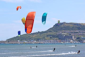 kitesurfers in Portland harbour