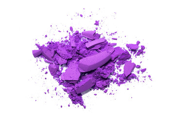 Purple color Face make up powder cracked on background