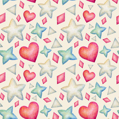 Hand painted watercolor seamless texture with colorful confetti. Aquarelle repeating background  with hearts, triangles and stars. Cute bright pattern.