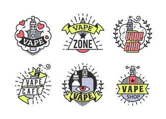 Vector Vaping Badges, Modern Line Art Labels, Vape Shop Logo
