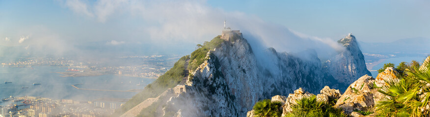 Rock of Gibraltar in fog. A British Overseas Territory