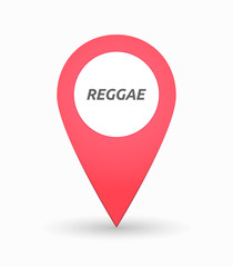 Isolated map mark with    the text REGGAE