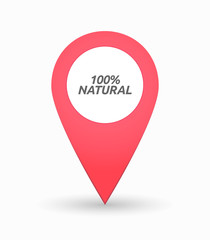Isolated map mark with    the text 100% NATURAL