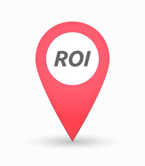 Isolated map mark with    the return of investment acronym ROI