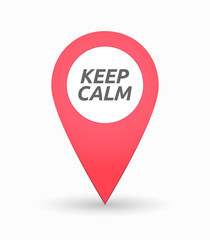 Isolated map mark with    the text KEEP CALM