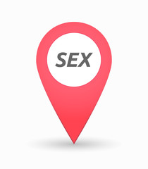 Isolated map mark with    the text SEX