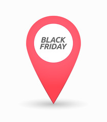 Isolated map mark with    the text BLACK FRIDAY