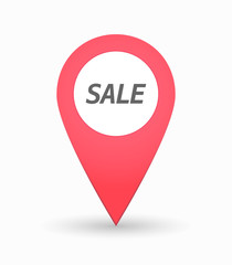 Isolated map mark with    the text SALE