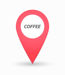 Isolated map mark with    the text COFFEE