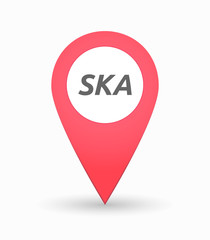 Isolated map mark with    the text SKA