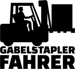 Fototapete - Forklift driver with german job title