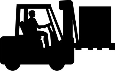 Wall Mural - Forklift with driver silhouette