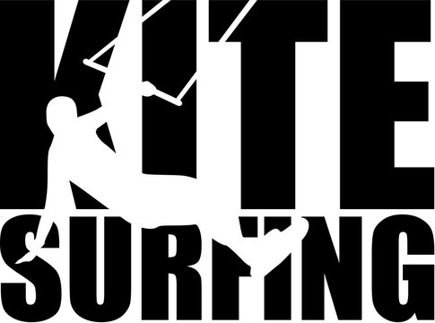 Kitesurfing word with silhouette